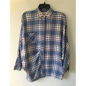 River and Thread plaid button up shirt.